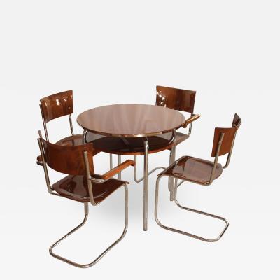 Marcel Breuer Restored Bauhaus Cantilever Seating Group Walnut and Chrome Czech circa 1930