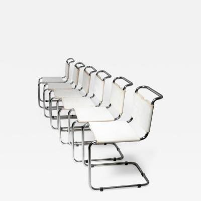 Marcel Breuer Set of Six Cantilever Chairs by Marcel Breuer for Gavina