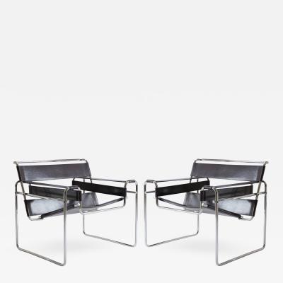 Marcel Breuer Wassily Chairs in Brown Leather by Marcel Breuer for Gavina