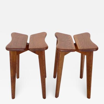 Marcel Gascoin French Oak Tabouret or Side Tables Model Trefle for Arhec