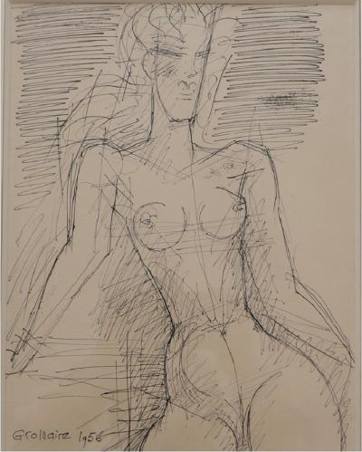 Marcel Gromaire Femme nue a mi corps Drawing by Marcel Gromaire 1956