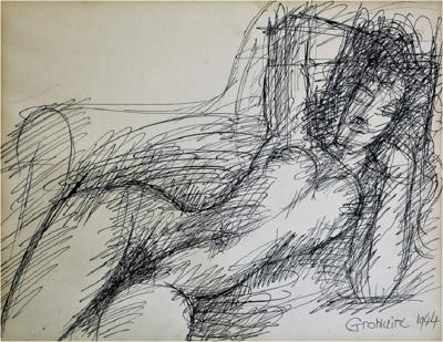 Marcel Gromaire Nu alangui drawing by Marcel Gromaire 1944