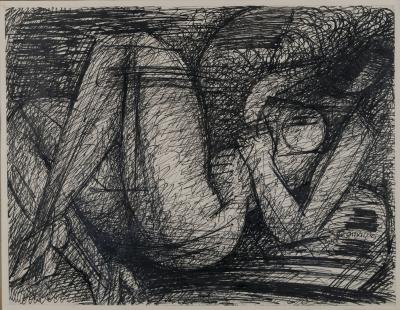 Marcel Gromaire Pen and Ink Drawing of Reclining Nude by Marcel Gromaire 1953