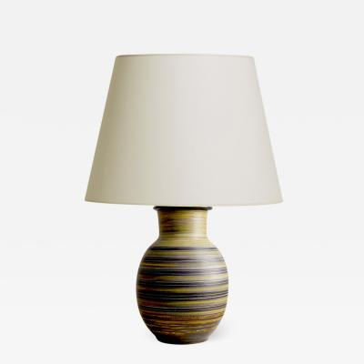 Marcel Guillot Table Lamp with Glazed and Sgraffito Stripes by Marcel Guillot