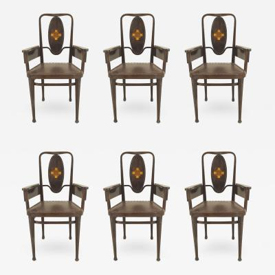 Marcel Kammerer Set of 6 Austrian Secessionist Mahogany Stained Armchairs