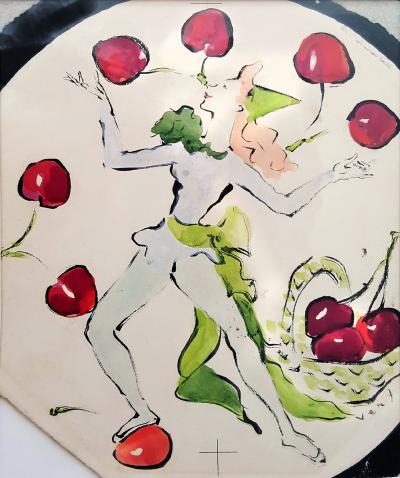 Marcel Vertes Dancing Girl with Cherries