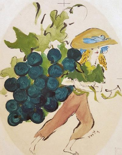 Marcel Vertes Girl with Grapes Illustration