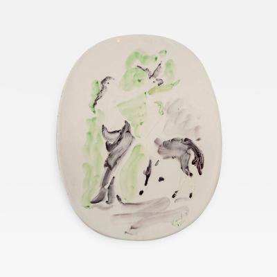 Marcel Vertes Marcel Vertes Beautiful Plate in Ceramic Vallauris circa 1955