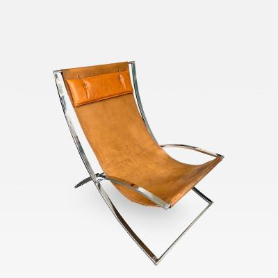 Marcello Cuneo Lounge Chair Leather and Chrome by Marcello Cuneo Italy 1970s