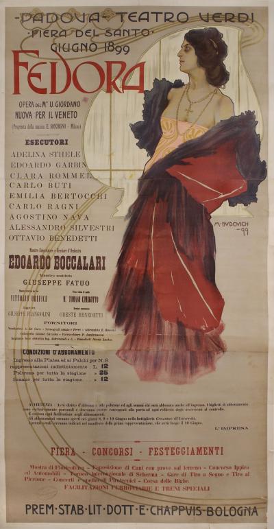 Marcello Dudovich Italian Art Nouveau Period Stone Lithograph Opera Poster by Dudovich 1899