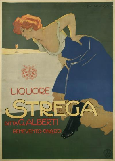 Marcello Dudovich Strega Italian Stone Lithograph Poster by Marcello Dudovich 1905