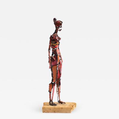 Marcello Fantoni 1960s Brutalist Female Nude Scupture Painted Iron on Travertine Base