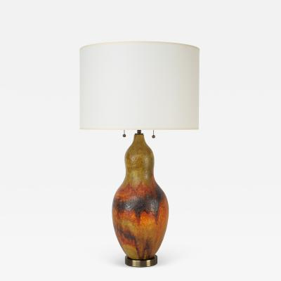 Marcello Fantoni Artisan Ceramic Table Lamp with Volcanic Glaze 1960s