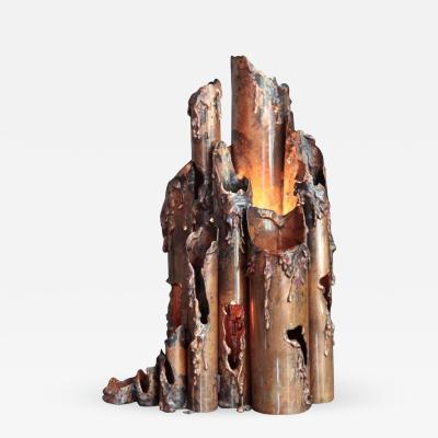 Marcello Fantoni Brutalist Copper Table Lamp by Marcello Fantoni