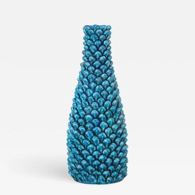 Marcello Fantoni Fantoni Ceramic Vase Blue Pinecone Pottery Signed Italy 1960s