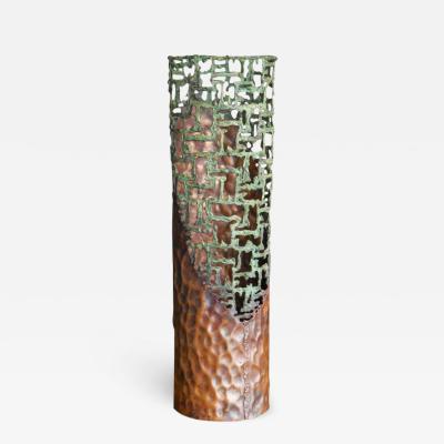 Marcello Fantoni Large Sculptural Metal Vase by Marcello Fantoni