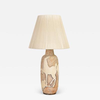 Marcello Fantoni Marcello Fantoni Ceramic Table Lamp With Men And Horses 1950s