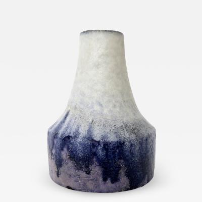 Marcello Fantoni Marcello Fantoni Italian Ceramic Vase with White Blue and Purple Glaze