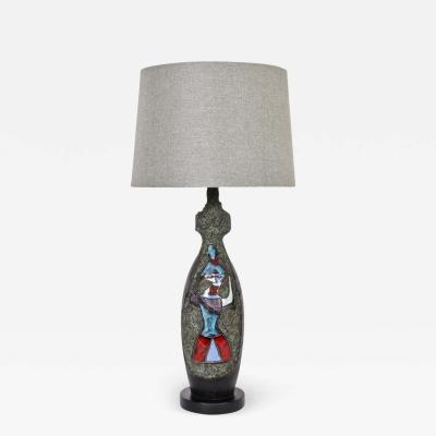 Marcello Fantoni Marcello Fantoni Lava Colorful Ceramic Leather Masquerade Table Lamp
