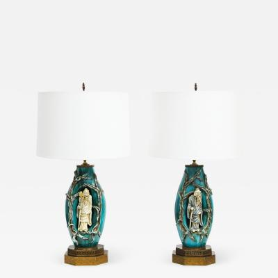 Marcello Fantoni Marcello Fantoni Pair of Superb Ceramic Table Lamps with Chinese Figures 1950s