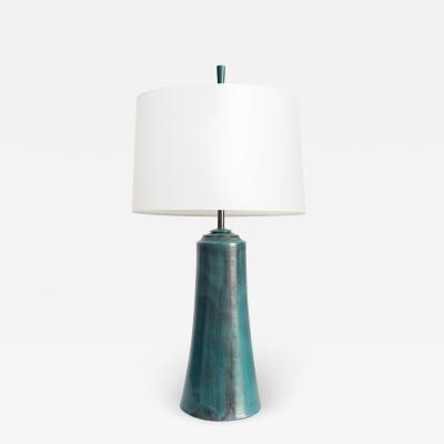 Marcello Fantoni Marcello Fantoni mid century modern glazed ceramic lamp with custom hardware
