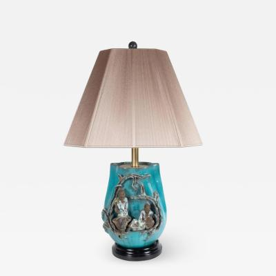 Marcello Fantoni Mid Century Modern Table Lamp by Marcello Fantoni in Glazed Stoneware