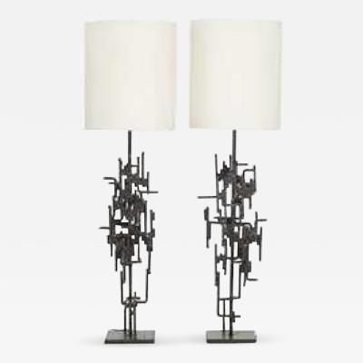Marcello Fantoni Pair of Floor Lamps in Wrought Iron circa 1965 by Marcello Fantoni