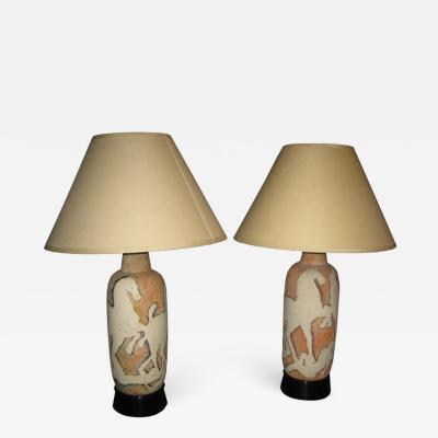 Marcello Fantoni Pair of Large Fantoni Studio Ceramic Table Lamps