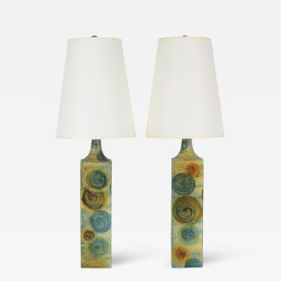 Marcello Fantoni Pair of Marcello Fantoni Ceramic Table Lamps circa 1960s
