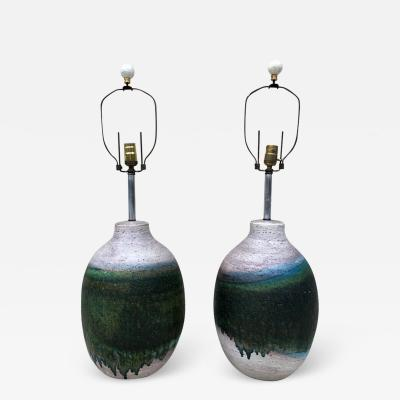 Marcello Fantoni Pair of Massive Fantoni Signed Ceramic Handmade Glazed Lamps