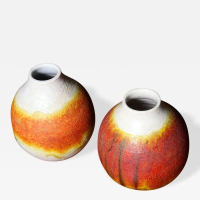 Marcello Fantoni Pair of Signed Fantoni Orange Glazed Pottery Vessels