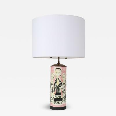 Marcello Fantoni Party Dress Ceramic Table Lamp by Marcello Fantoni