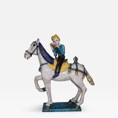 Marcello Fantoni Rare Mid Century Marcello Fantoni Ceramic Horse and Cowboy Figure