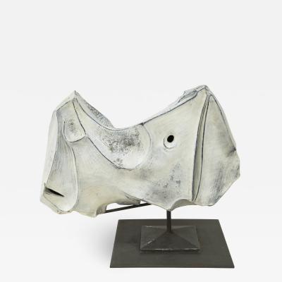 Marcello Fantoni Rhinoceros ceramic sculpture by Marcello Fantoni 1973