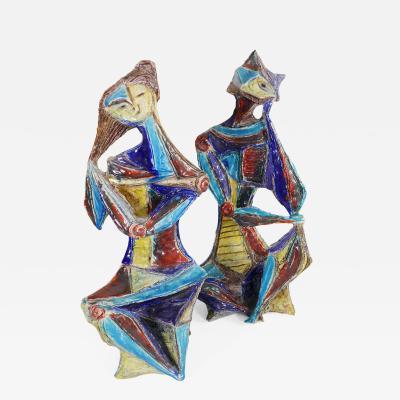 Marcello Fantoni Sculptural Couple in Cubist Style by Marcello Fantoni