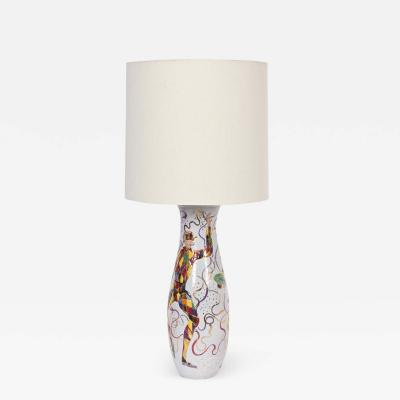 Marcello Fantoni Tall Marcello Fantoni Colorful Hand Painted Harlequin Ceramic Table Lamp