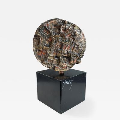 Marcello Fantoni circular sculptural relief on plinth by Marcello Fantoni 1980