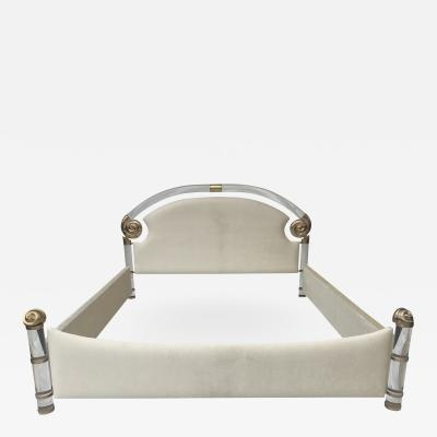 Marcello Mioni Brass and Lucite King Size Bed by Marcello Mioni
