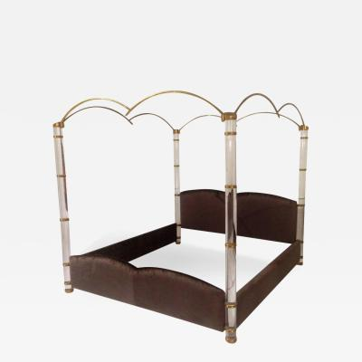 Marcello Mioni In the Clouds King Size Lucite and Brass Poster Bed by Marcello Mioni
