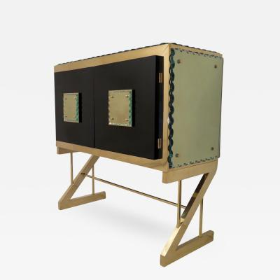 Marco Seghetti Sideboard Covered in Brass and Monoliths Glass Italy 2017