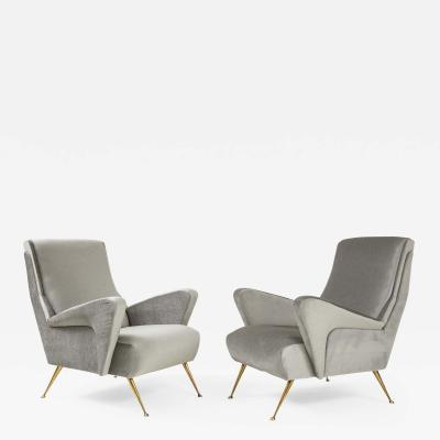 Marco Zanuso 1950s Modernist Sculptural Italian Lounge Chairs With Solid Brass Legs