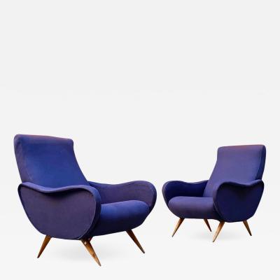 Marco Zanuso Blue cotton armchairs mod Lady 1950s