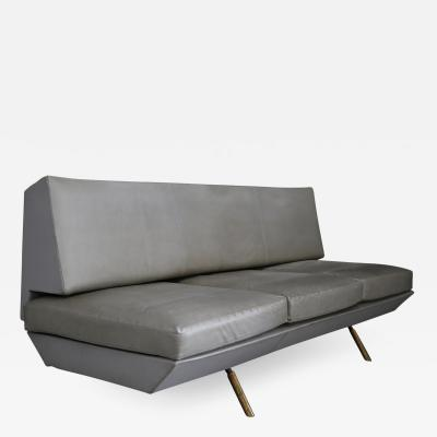 Marco Zanuso Extendable sofa by Marco Zanuso from 1950 in brass and leather