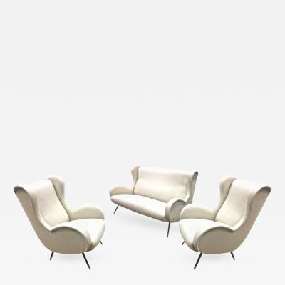 Marco Zanuso In the Style of Senior Chair by Marco Zanuso Set of One Couch and Two Chairs