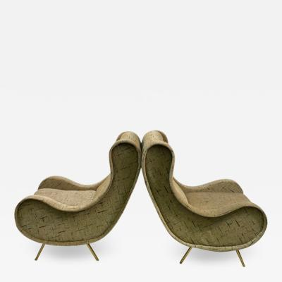 Marco Zanuso MODERNIST PAIR OF MARCO ZANUSO STYLE LOUNGE CHAIRS