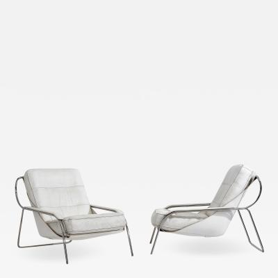 Marco Zanuso Marco Zanuso Maggiolina Leather Lounge Chairs for Zanotta Italy 1970