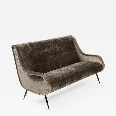 Marco Zanuso Marco Zanuso Style Italian Velvet Sofa