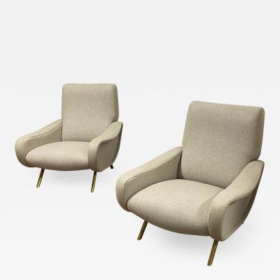 Marco Zanuso Marco Zanuso pair of chairs model Lady newly covered in wool cloth