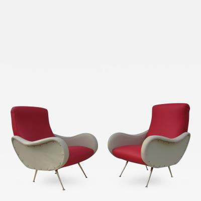 Marco Zanuso Mid Century Italian Lounge Chairs in the Style of Marco Zanuso
