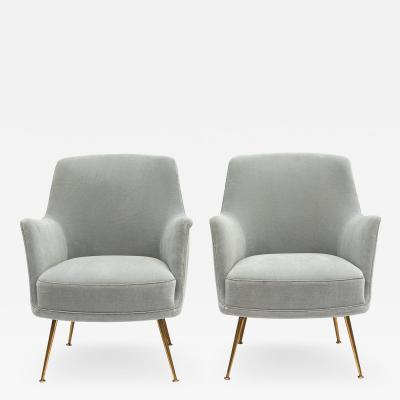 Marco Zanuso PAIR OF MIDCENTURY ITALIAN LIGHT BLUE VELOUR ARMCHAIRS MARCO ZANUSO